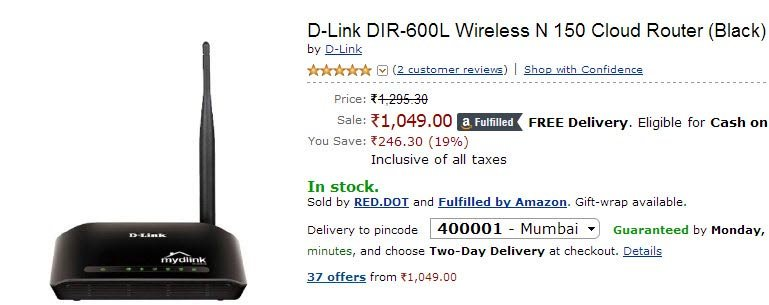 dlink-600L router at Amazon.in