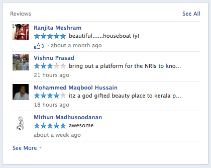 FB reviews on timeline