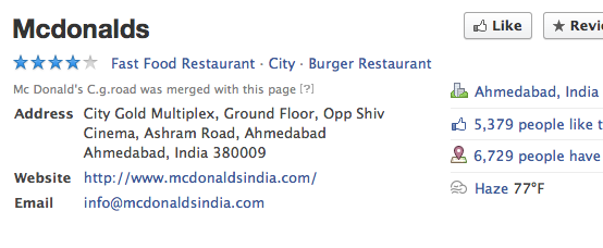 McDonald FB Place in Ahmedabad