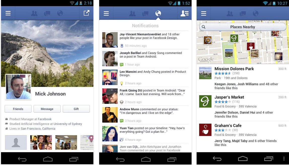 facebook feat android application