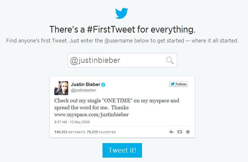 justin first tweet