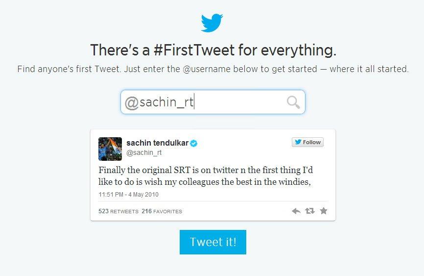 sachin first tweet