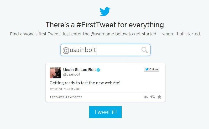 usain bolt first tweet