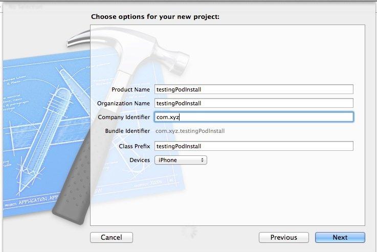 Choose option xcode