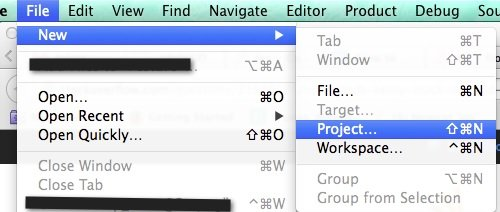 Create project in xcode