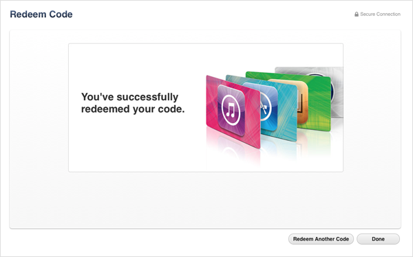 itunes gift card and content code