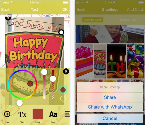 Birthday Greetings Ios App Features