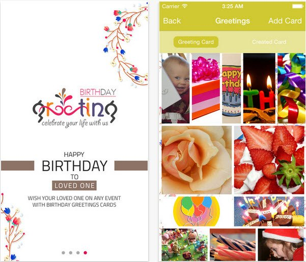 birthday greetings ios app home page