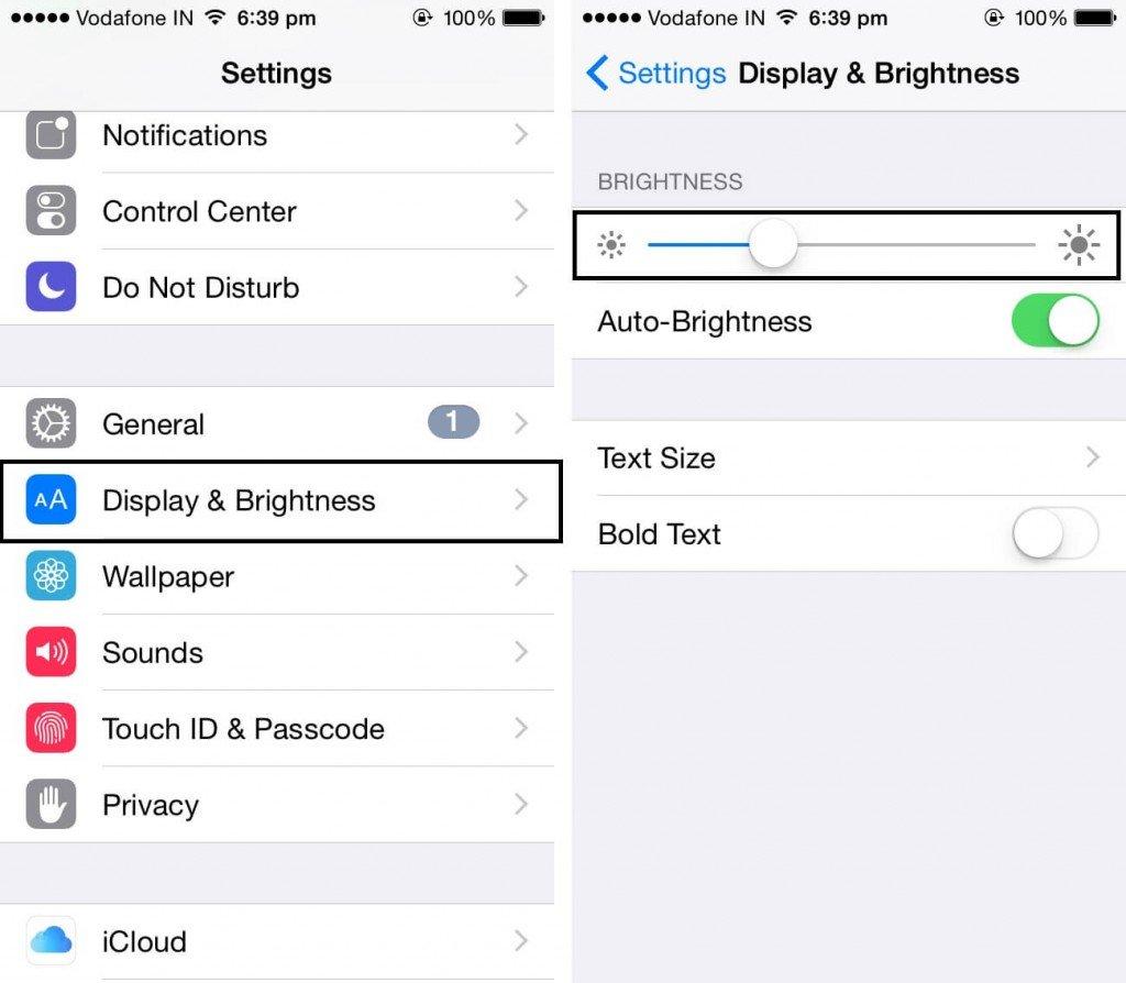 iphone display & brightness