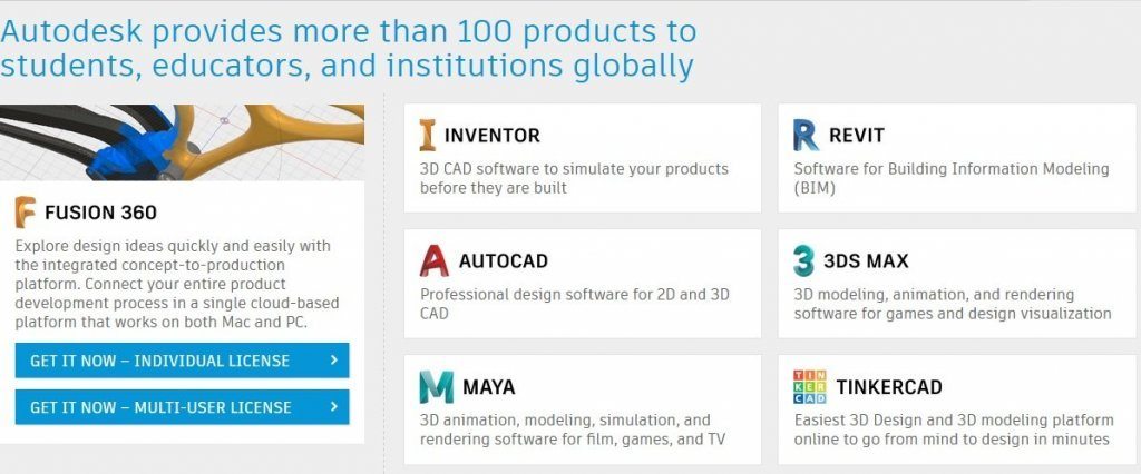 free autodesk for students