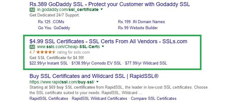SSL certificate ratings