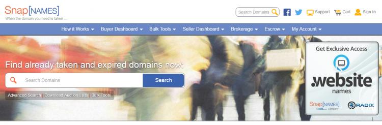 snapnames domain sales platform