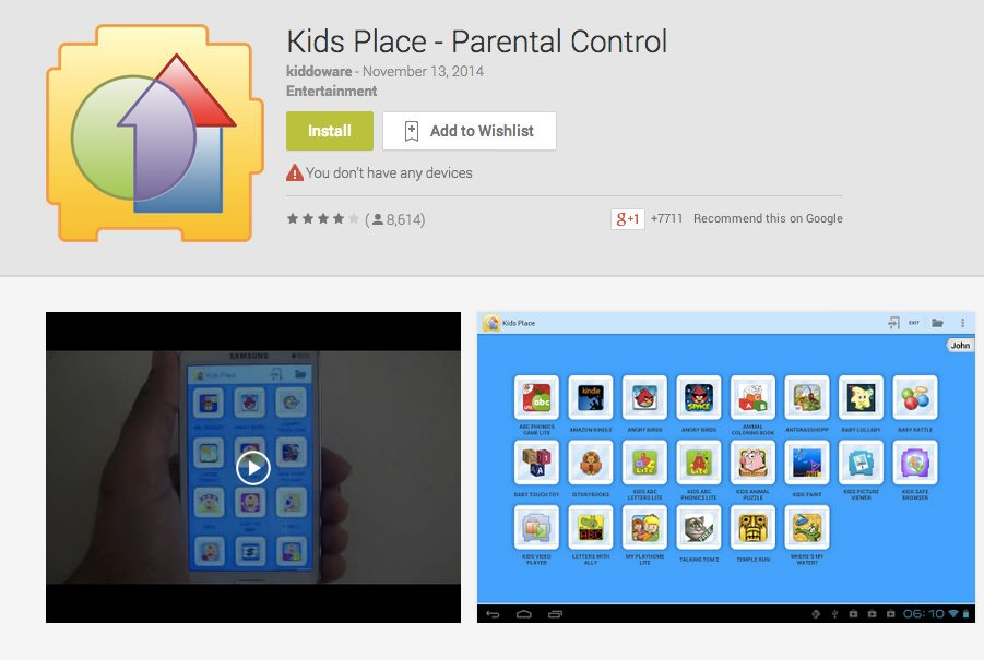 Parental lock android app