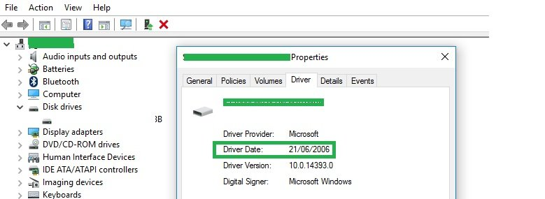 device driver properties