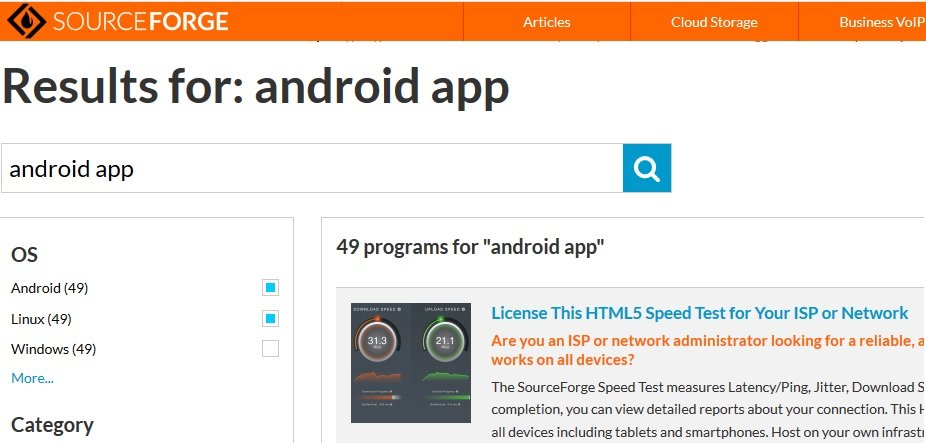 sourceforge android app source code