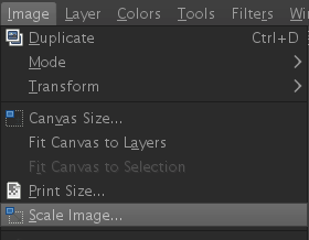 GIMP scale image