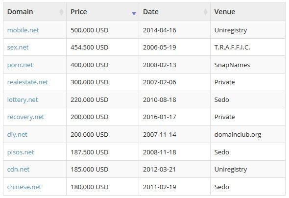 net domain highest price