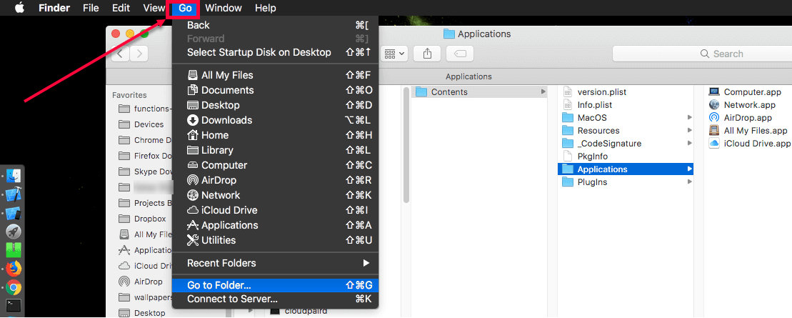 Add Airdrop Icon to MacOS Dock Steps - Select Go menu