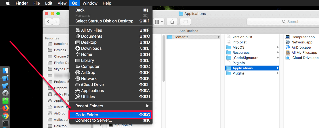 Add Airdrop Icon to MacOS Dock Steps - click on Go To Folder