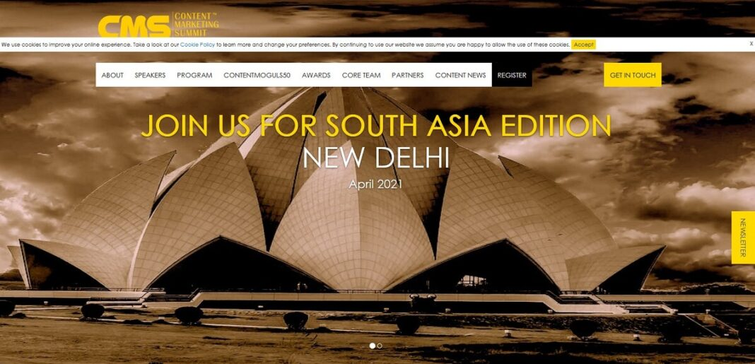 Content Marketing Summit (CMS) South Asia 2021 in New Delhi