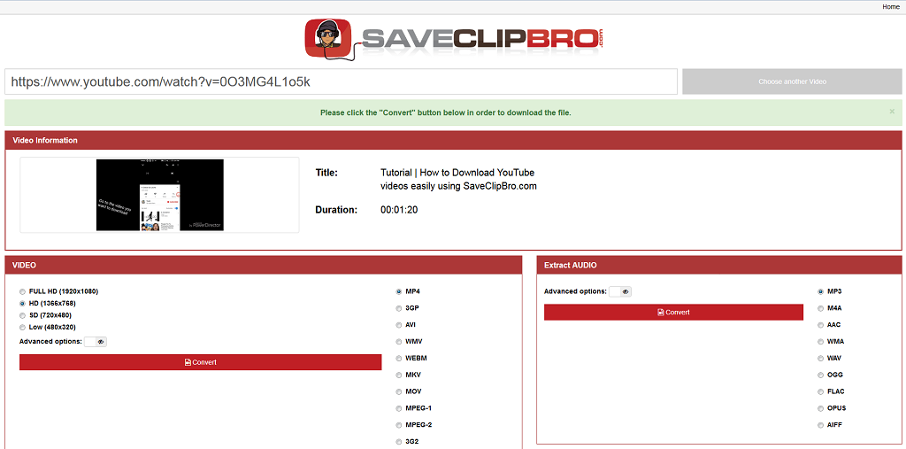 Save Clipbro - Online Video Converter